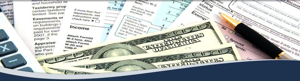 Tax Forms, Money and Calculator